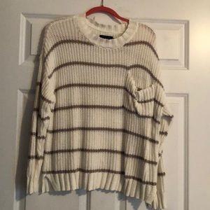 Crew Neck White & Brown Stripe Sweater